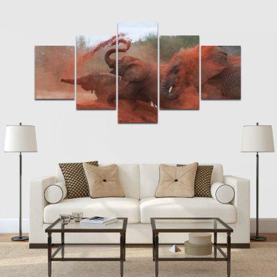 5 részes vászonkép elefántok