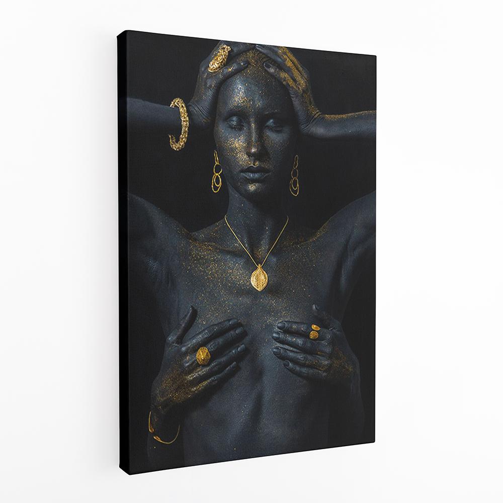 arany fekete csajos vászonkép