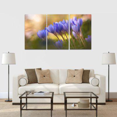 kék virágok többrészes falikép