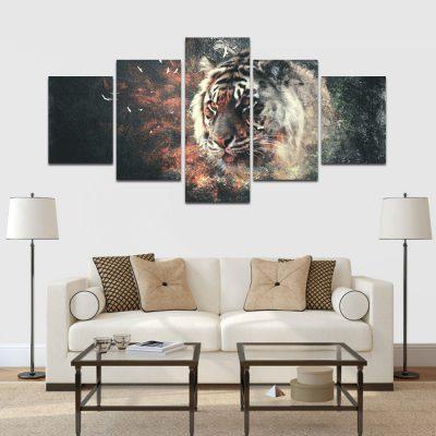 5 részes vászonkép tigris