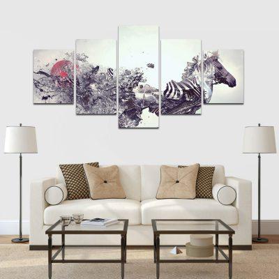 absztrakt zebra többrészes falikép